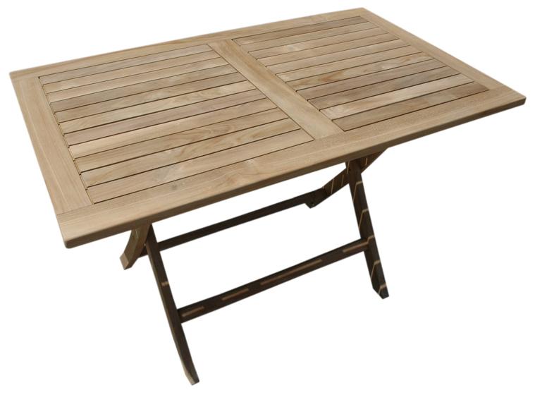 Mesa de exterior en madera teka de 70x120x75 cm en for Liquidacion muebles terraza